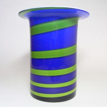 Alsterfors #S5122 Blue & Green Glass Vase Signed P. Strom 69