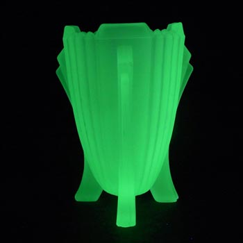 Bagley #3057 Art Deco Uranium Green Glass 'Bedford' Vase