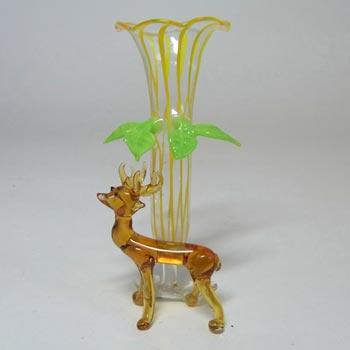 Bimini or Lauscha Yellow & Brown Lampworked Glass Deer Vase