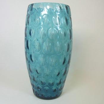 Borske Sklo Large 1950's Blue Glass Optical Olives Vase
