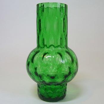 Borske Sklo 1950's Green Glass Optical 'Olives' Vase