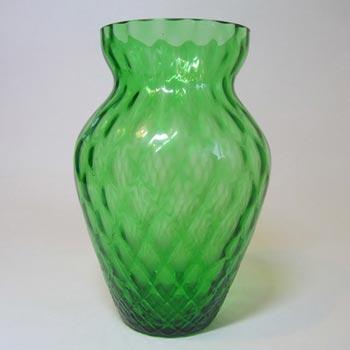 Borske Sklo 1950's Green Glass Optical 'Caro' Vase