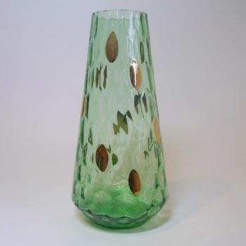 Borske Sklo 1950's Green Glass Optical 'Honeycomb' Vase