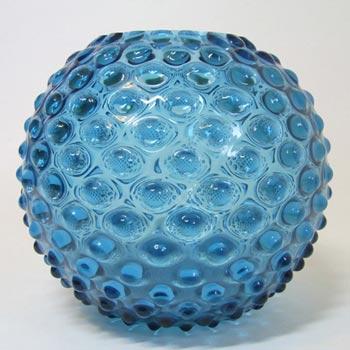 Borske Sklo 1950's Blue Glass Spherical 'Knobble' Vase