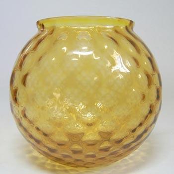 Borske Sklo 1950's Amber Glass Optical Ball Pattern Vase