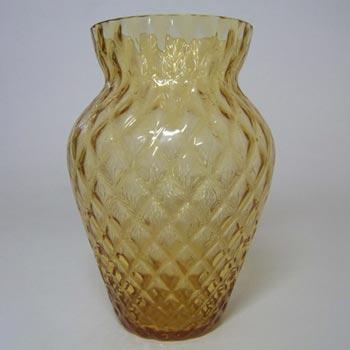Borske Sklo 1950's Amber Glass Optical 'Caro' Vase