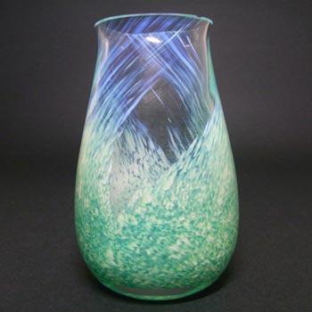 Caithness British Green + White Speckled Glass Vase