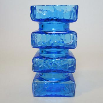 Carlo Moretti Textured Blue Murano Glass 'Hooped' Vase