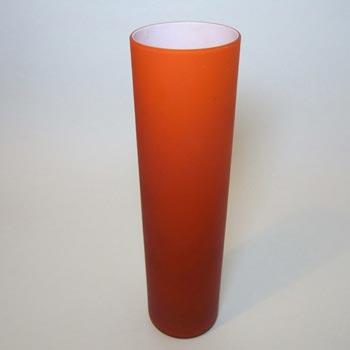 Carlo Moretti Satinato Orange Murano Glass Vase - Label