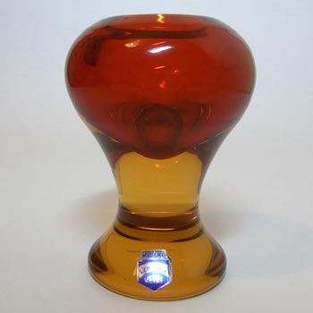 Cenedese Murano / Sommerso Glass Candlestick - Signed + Label