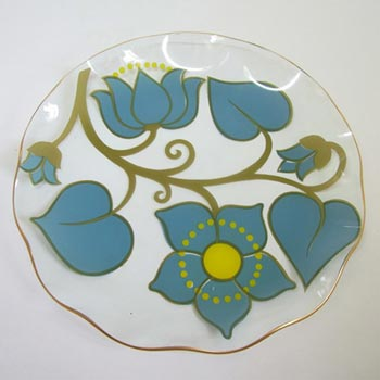 Chance Bros Turquoise Glass 'Lotus' Plate/Dish 1973