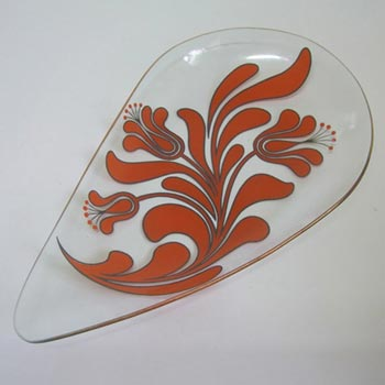 Chance Bros Orange Glass Canterbury Plate/Dish 1971