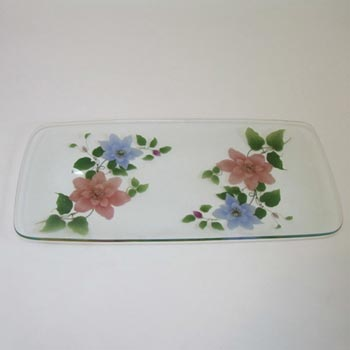 Chance Bros Pink/Blue Glass Clematis Plate/Dish 1971