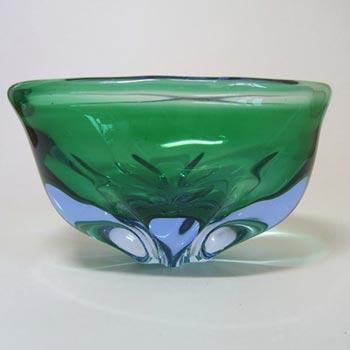 Chribska Green + Blue Glass Bowl by Josef Hospodka
