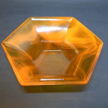Davidson #24M Art Deco Orange Cloud Glass Bowl