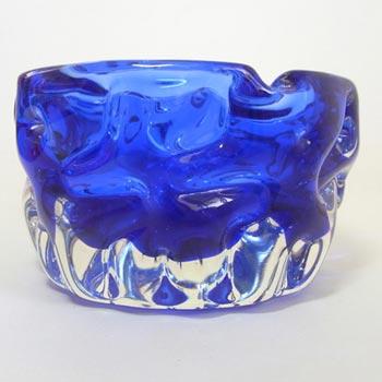 Crystalex/Bor Czech Blue Glass Bowl by Pavel Hlava 1968
