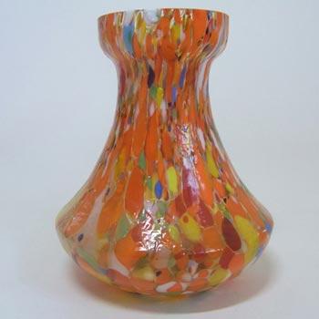 Czech 1930's Multicoloured Spatter/Splatter Glass Vase