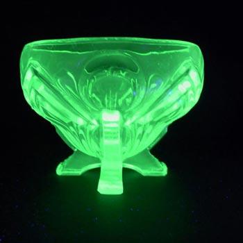 Sowerby Art Deco 1930's Uranium Green Glass Posy Bowl