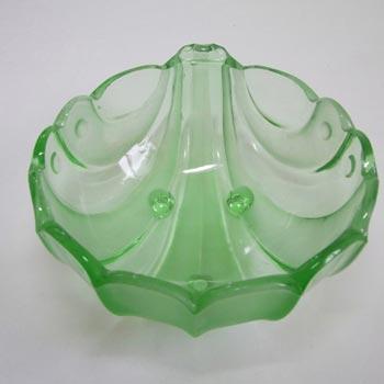 Stölzle #19510 Czech Art Deco 1930's Green Glass Bowl