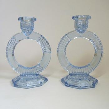 Libochovice Czech Art Deco 1930s Blue Glass Candlestics