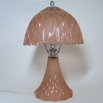 Davidson Art Deco Pink Glass Good Companion Table Lamp