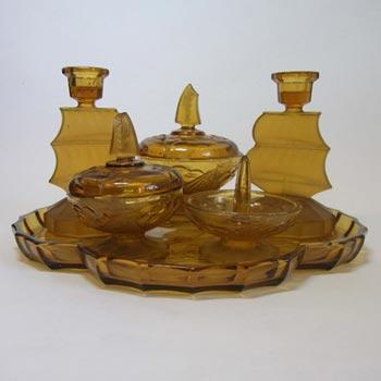 Art Deco 1930's Amber Glass 'Sailing Ships' Trinket Set