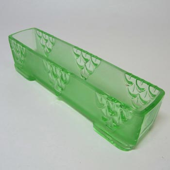 Stölzle Czech Art Deco 1930's Green Glass Posy Bowl