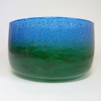 Ekenas Blue + Green Glass Bowl Signed John-Orwar Lake