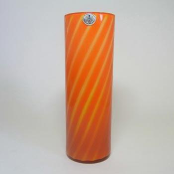 Elme 1970s Scandinavian Orange Cased Glass Striped Vase