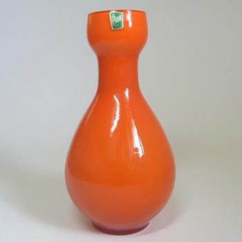 Elme Scandinavian Orange Cased Glass Vase - Labelled