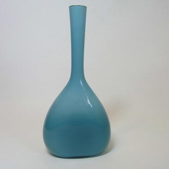 Elme 70s Scandinavian Blue Cased Glass 'Flattened' Vase