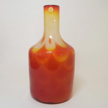 Large Elme Swedish Orange Cased Glass 'Peacock' Vase