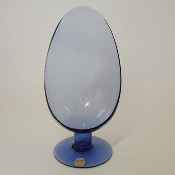 Flygsfors Swedish Blue Glass Candle Holder - Labelled
