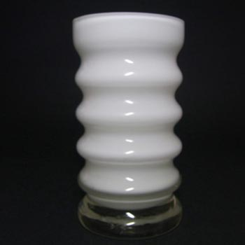 Friedrich German White Hooped Glass Vase/Candle Holder