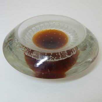 Galliano Ferro Murano Bullicante Amber & Clear Glass Bowl