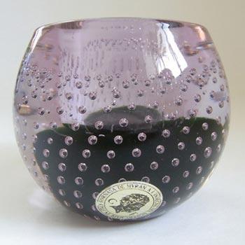Galliano Ferro Murano Bullicante Green & Lilac Glass Candle Holder - Label