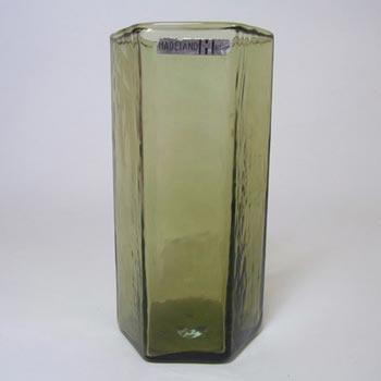 Hadeland Scandinavian 70's Green Glass Vase - Labelled