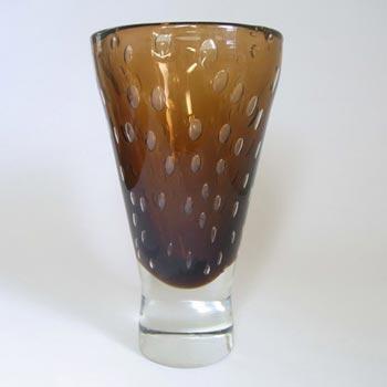 Harrachov Czech Large Amber Glass Vase by Milan Metelak