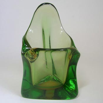 Harrachov Czech Amber & Green Glass Vase #15/2966