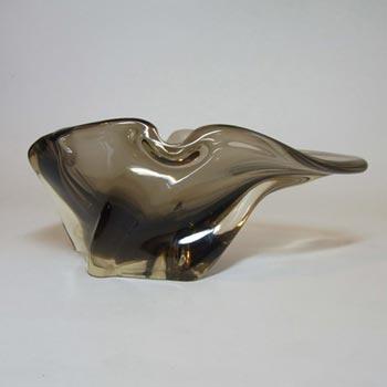 Harrachov Czech Smokey Glass Sculpture Bowl #5/3576