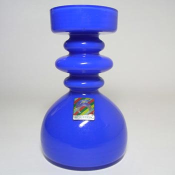 Hirschberg German Blue Hooped Glass Vase - Labelled