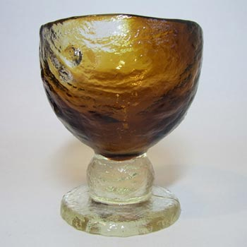 Humppila Amber Glass Vase/Bowl by Pertti Santalahti - Signed
