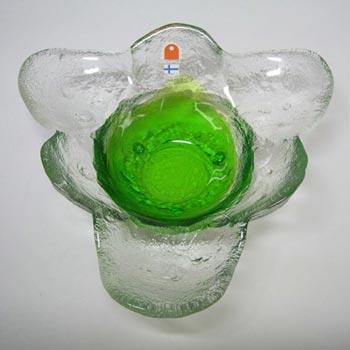 Humppila Green Glass Bowl by Pertti Santalahti - Signed