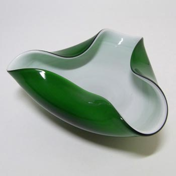 Japanese 'Wales' Green Cased Glass Biomorphic Bowl