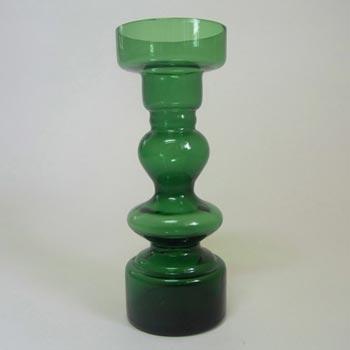Japanese Green Hooped Art Glass Vase - Japan Label