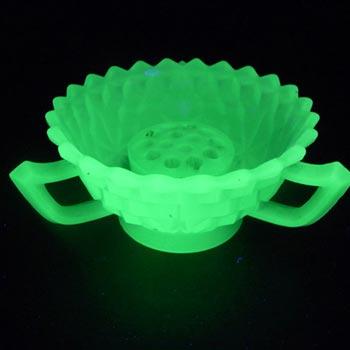 Jobling #2077 Art Deco Uranium Jade Green Glass Bowl