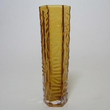 Tajima Japanese 'Best Art Glass' Textured Amber Cased Glass Vase