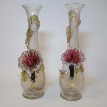 Pair Kralik Art Nouveau 1900's Iridescent Glass Vases