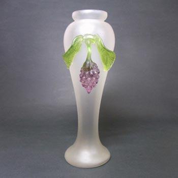 Kralik Art Nouveau 1900's Glass Berry + Leaf Vase