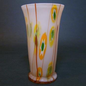 Kralik Czech Art Deco 1930's 'Murrine Canes + Lines' Glass Vase